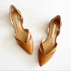 Audrey Brooke | Leather D'orsay Tan Leather Flats